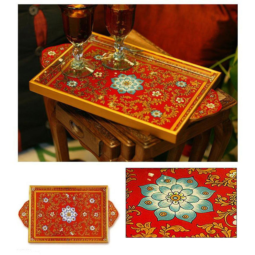Painted Glass 'Crimson Garden' Tray (Peru)