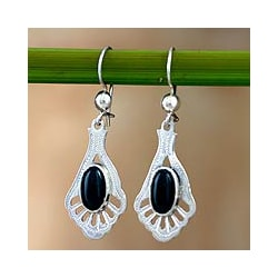 Sterling Silver 'Black Peacock' Jade Dangle Earrings (Guatemala)