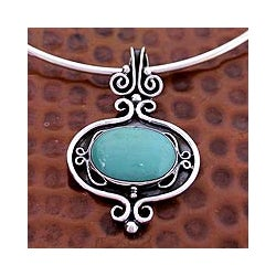 Sterling Silver 'Aztec Harmony' Turquoise Choker (Mexico)