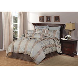 Branwell Stripe Blue Queen-size 8-piece Comforter Set