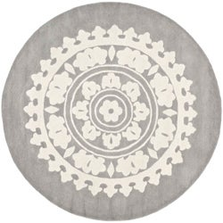 Handmade Soho Chrono Grey/ Ivory New Zealand Wool Rug (8&#39; Round)