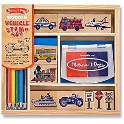 Melissa & Doug Vehicle Stamp Set with Stamp Pad and Coloring Pencils