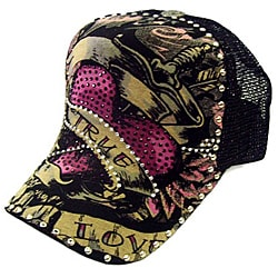 Head Wear Women's 'True Love' Adjustable Rhinestone Trucker Hat