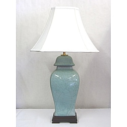 Light Blue Crackle Finish Covered Urn Table Lamp