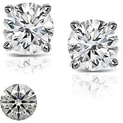 Platinum 1 1/4ct TDW Hearts and Arrows Diamond Stud Earrings (J-K, SI1-SI2)