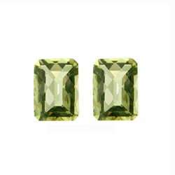 Glitzy Rocks Rectangle 14x10mm 14ct TGW Briolette-cut Lime Quartz Stones (Set of 2)