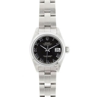 Pre-owned Rolex Women's Model 69160 Datejust 26mm Stainless Steel Black Roman Dial Watch
