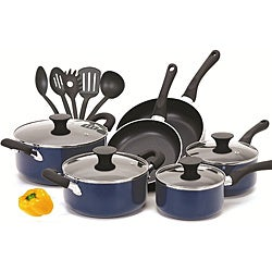 Cook N Home Blue 15-piece Non-stick Cookware Set