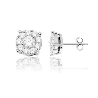 De Couer 10k White Gold 1/2ct TDW Diamond Cluster Earrings (H-I, I2)
