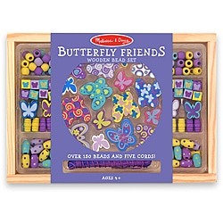Melissa & Doug Butterfly Friends Wooden Bead Set in Storage Case