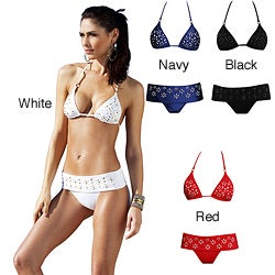 1 Sol Swim Women&#39;s 2-piece Triangle Top Embellished Bikini
