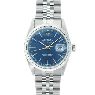 Pre-Owned Rolex Men's Datejust Stainless Steel Blue Dial Watch