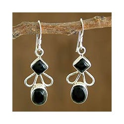 Sterling Silver 'Dream of Me' Onyx Dangle Earrings (India)
