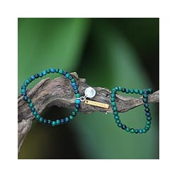 Set of 2 Sterling Silver 'Imagine' Chrysocolla Bracelets (Indonesia)