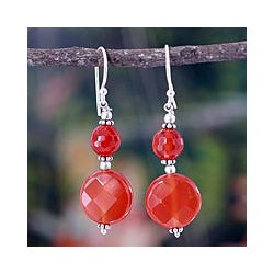 Sterling Silver 'Delhi Summer' Carnelian Dangle Earrings (India)