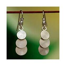 Silver 'Flowing' Dangle Earrings (Mexico)