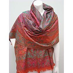 Selection Privee Paris Susan Fuchsia/ Green Paisley Silk-blend Wrap