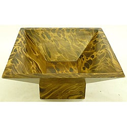 Mango Wood Single-leg Square Bowl (Thailand)