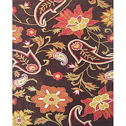 Hand-tufted Metro Flower Chocolate Wool Rug (10&#39; x 12&#39;)