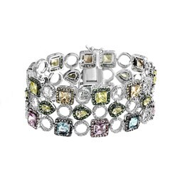 Collette Z Sterling Silver Multi-colored Cubic Zirconia Three Row Bracelet