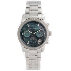 Republic Women's Stainless Steel Glitz Mother of Pearl Chronograph Watch