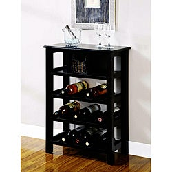 Distressed Black Wine Rack with Basket Drawer