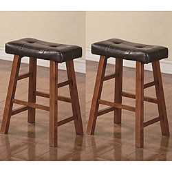 Saddle Walnut Brown 24-inch Bicast Leather Counter-height Bar Stools (Set of 2)