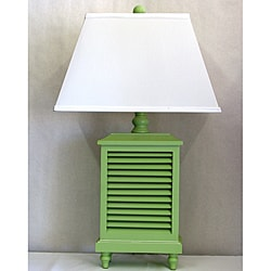 Mint Green Whitewashed Wood Shutter Lamp with White Rectangular Shade