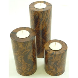 Set of 3 Mango-Wood Pillar Candleholder (Thailand)