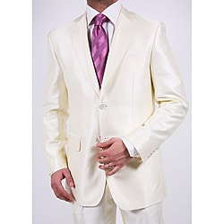 Ferrecci Men's Shiny Off-white Two-button Two-piece Slim Fit Suit