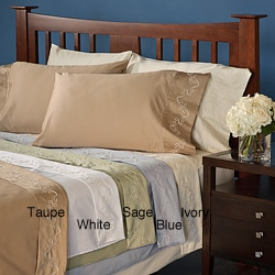 Grand Luxe Egyptian Cotton Sateen 300 Thread Count Scroll King-size Deep Pocket Sheet Set