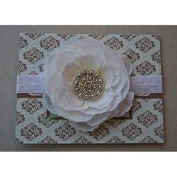 Hand-beaded Silver Pearl and White Rosette Headband