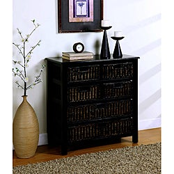 Distressed Black Basket Drawer Chest