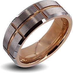Men's Tungsten Carbide Brushed Center Rose Gold Cross Grooved Ring (8 mm)