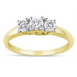 Miadora 10k Yellow Gold 1/2ct TDW Diamond 3-stone Ring
