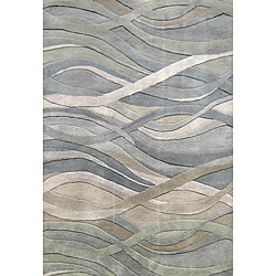 Alliyah Handmade Grey/Green New Zealand Blend Wool Rug (10' x 12')