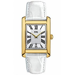 ESQ by Movado Women's Filmore Gold-Plated White Leather Watch