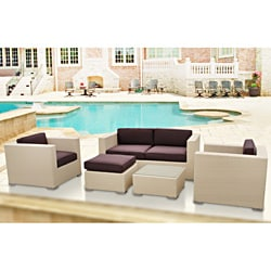 Malibu Collection 5-piece Tan/ Brown Wicker Outdoor Sectional Set