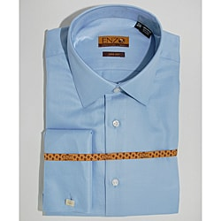 Enzo Tovare Men&#39;s Blue Cotton Dress Shirt