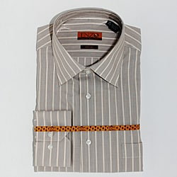 Enzo Tovare Men's Taupe Striped Cotton Dress Shirt