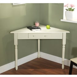 White Corner Desk with Turned Legs
