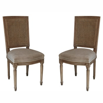 nuLOOM Casual Living Weathered Vintage French Cane Back Linen Dining Chairs (Set of 2)