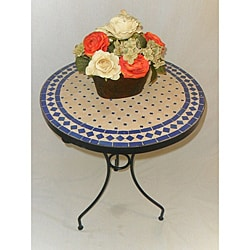 Iron Blue and Beige Mosaic Table (Morocco)