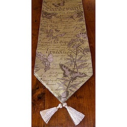 RLF Home Butterfly Script Botanical Tasseled Table Runner