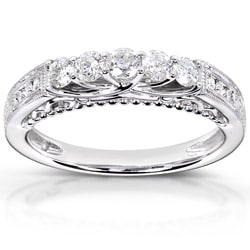 14k White Gold 1/2ct TDW Round-cut Diamond Band (H-I, I1-I2)