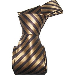 Dmitry Men's Brown Striped Italian Silk Tie Set