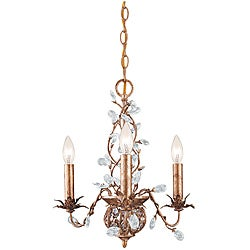 Crystorama Bethany 3-light Etruscan Gold Chandelier