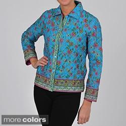 La Cera Women's Plus Size Quilted Cropped Jacket