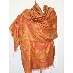 Selection Privee Paris 'Anita' Orange Olive Paisley Silk Wrap