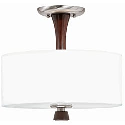 Triarch International Brady 2-light Brushed Steel and Wood Semi-Flush Mount